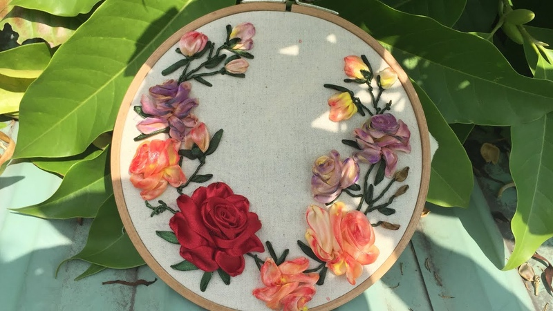 D.I.Y Ribbon Embroidery Rosa / Hướng dẫn thêu ruy băng hoa hồng