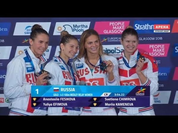 ЗОЛОТО сборная России женская комбинированная эстафета 4х100 м