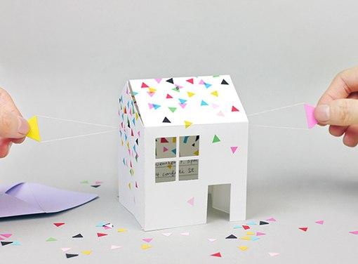 объемного бумажного домика