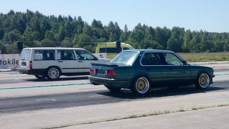 Volvo 945 V8 vs BMW 325i E30 HX52 Turbo 1/4 mile drag race
