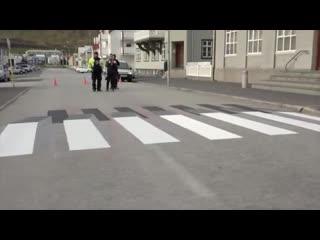 Нарисованный пешеходный переход в Исландии