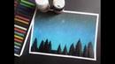 COMO PINTAR UN BOSQUE ESTRELLADO FÁCIL Tizas pastel Pasteles secos Speed Drawing