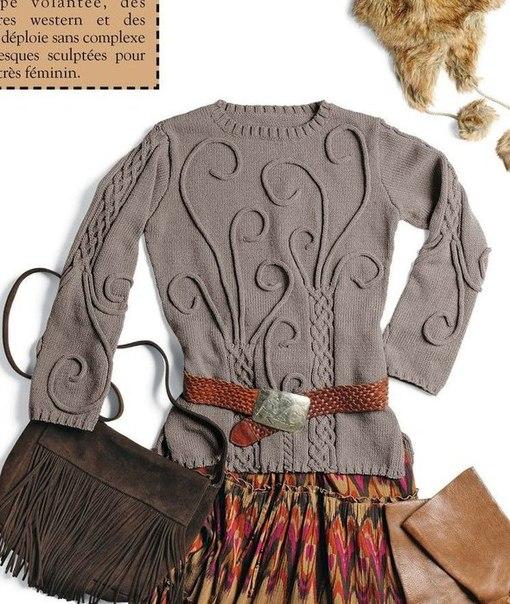 Оригинальный вязаный свитер женский спицами схема