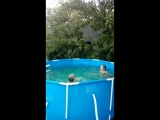 Первое купание в бассейне.21 июня.Плюс 30,но вода ещё прохладная.