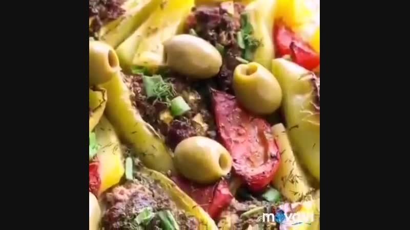Запеченные перцы 🌶 с фаршем и овощами