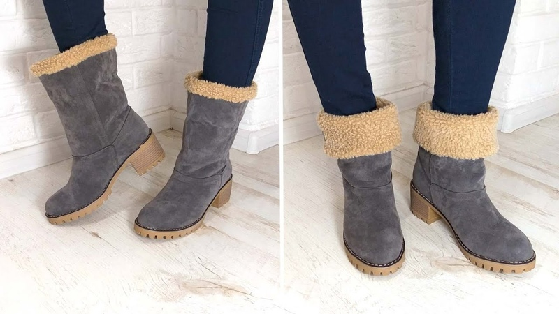Сапоги с искусственной овчиной с AliExpress обзор примерка . Faux fur shoes review
