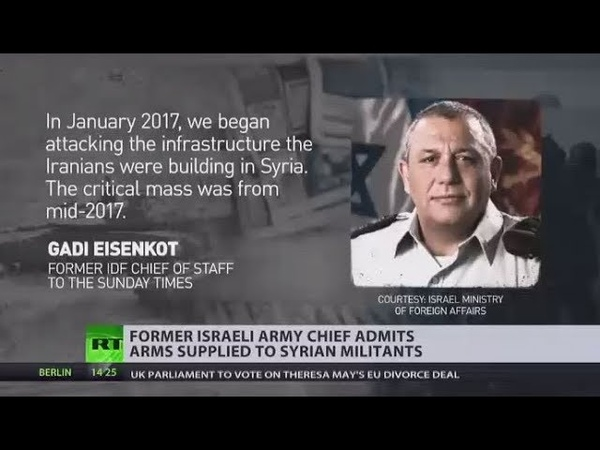 'For self defense' IDF chief admits Israel supplied Syrian rebels with weapons