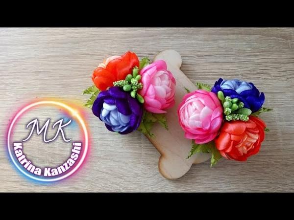 Зажимы с цветами из атласной ленты, канзаши МК/Clips com flores de fitas de cetim, kanzashi MK.