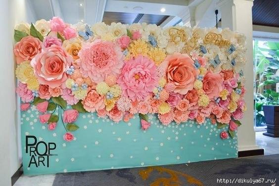 Мастер класс больших цветов из бумаги на стену