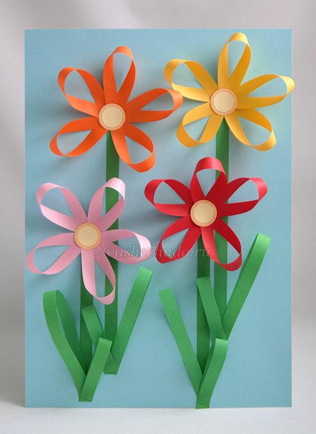 Цветы на 8 марта из бумаги своими руками