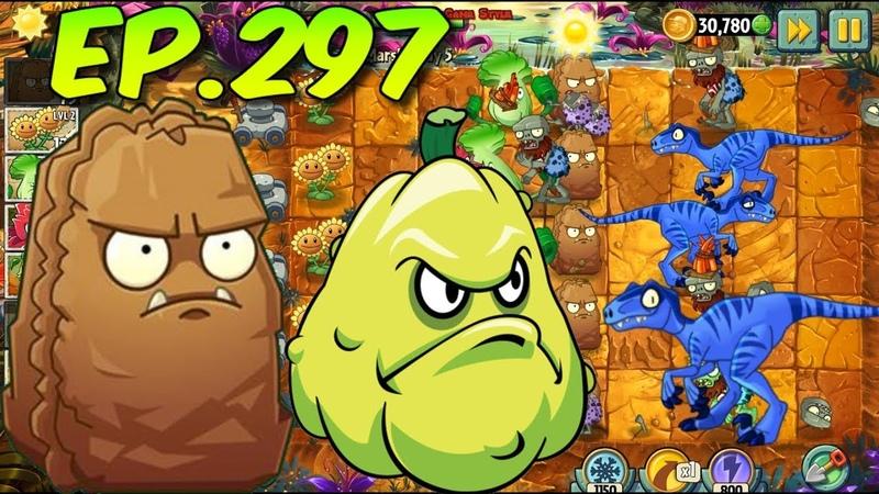 Plants vs. Zombies 2 || Primal Wall-nut, Squash, plants Level Up - Jurassic Marsh Day 5 (Ep.297)