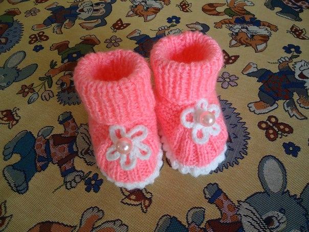 Вязание для новорожденных пинетки носки