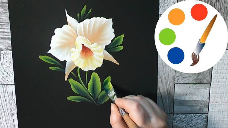 How to paint The Orchid by a flat brush
