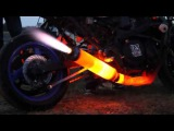 Exhaust of the motorcycle with fire