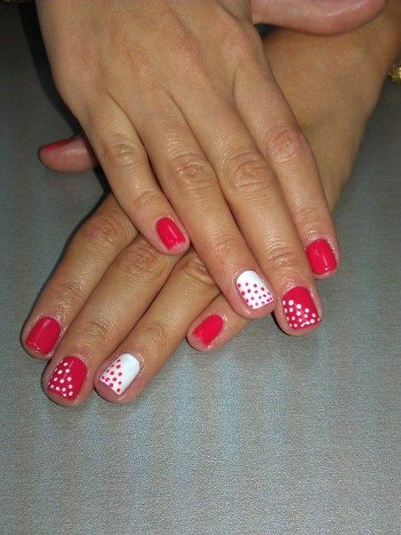 Шеллак дизайн красные ногти