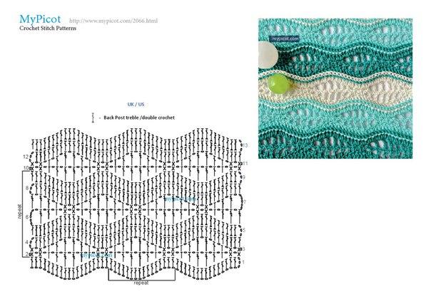 Узор волны крючком схемы и описание фото