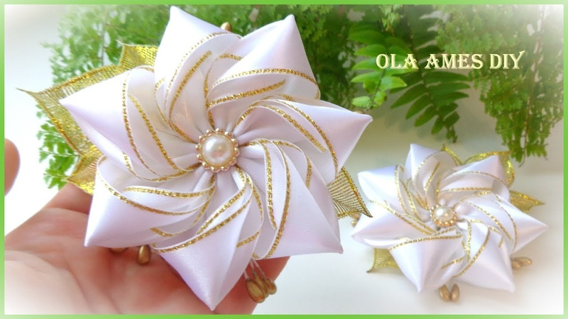 Канзаши/Цветок из атласной ленты на заколке/Kanzashi Flower Hairclip/Flor de Fita Cetim/Ola ameS DIY