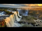 WORLD'S WATERFALLS in 4K w music Nature Relaxation 1 Hour Ambient Film for Healing &amp Meditation