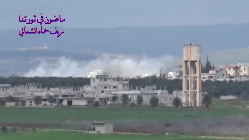 ВКС наносит удары по боевикам в н.п. Kafr_Zita Hama 15.03.2018