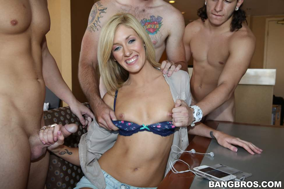 Amateur Blonde Slut Gang Banged!