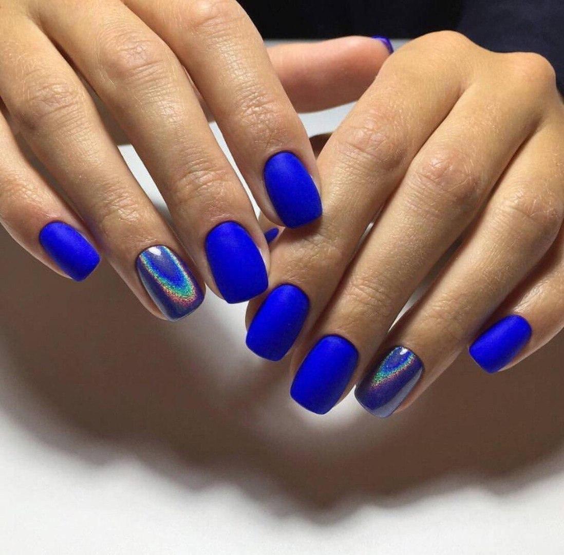 Маникюр фото гель лак синий модные