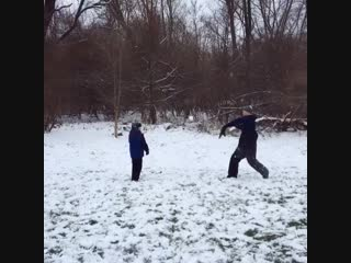 My husband and son had a snowball duel. Cheaters never win.