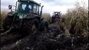 Тракторы МТЗ-82, JOHN DEERE и др в грязи! Там где танки не проедут, они на пузе проползут!
