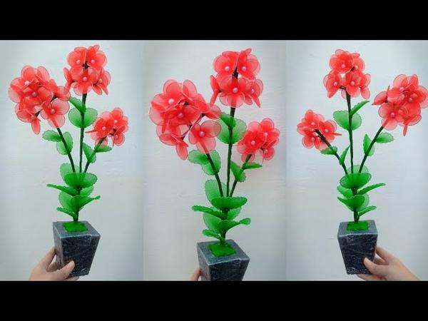 80) Ide kreatif - Tutorial bunga cantik dari stoking || nylon stocking flower making