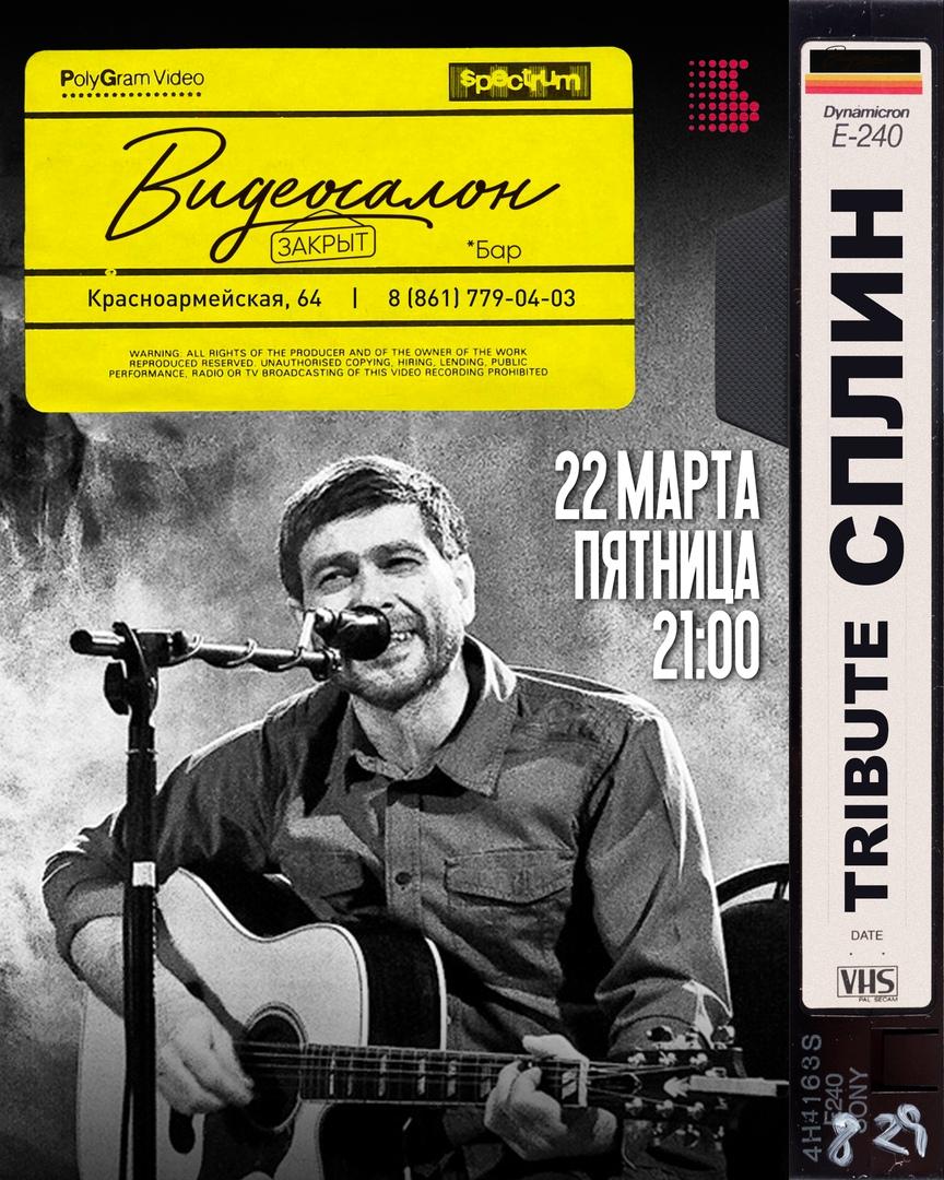 Афиша Краснодар СПЛИН tribute Бар «Видеосалон Закрыт» / 22.03
