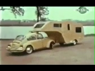 Volkswagen Beetle making it easy to move your trailer, 1974.