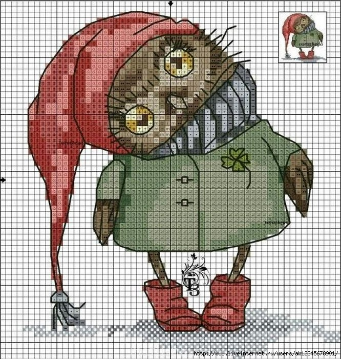 Скачать схемы вышивок сов