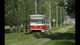 Болтанка на рельсах. Трамвайный вагон Tatra T6B5SU №129. Липецк. Проспект имени 60-летия СССР.
