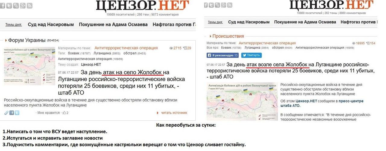 За день атак возле села Жолобок на Луганщине потери боевиков - 25 человек, среди них 11 убитых, - штаб АТО - Цензор.НЕТ 2421