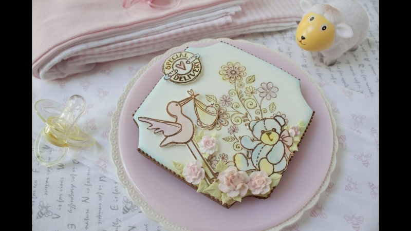 Stamped Fondant Appliqué Baby Cookie