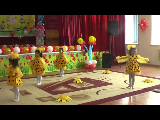 танец солнышко средняя и старшая группа дет сад №18 Балдырган г.Атырау2014г
