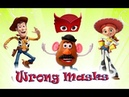 Toy Story Wrong Heads Masks Finger Family Nursery Rhymes Song For Kids Истории игрушек маски