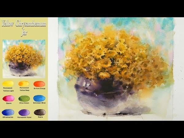노란 국화 항아리 - 꽃 정물수채화 그리기(파브리아노 황목)[남일 수채화] Yellow chrysanthe