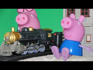 Свинка Пеппа с Джорджем едут на паровозике дедушки к Ребекке...