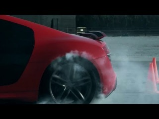 "Audi R8 vs R8 drifting. ""El Clasico"" FC Barcelona - Real Madrid match"