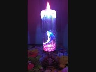 USB светильник в виде светодиодной свечи с дельфином . Цена-600р