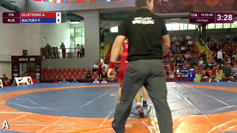 1_8 FS - 55 kg_ A. OLISTERNO (ITA) v. F. BALTUEV (RUS).Чемпионат Европы среди кадетов