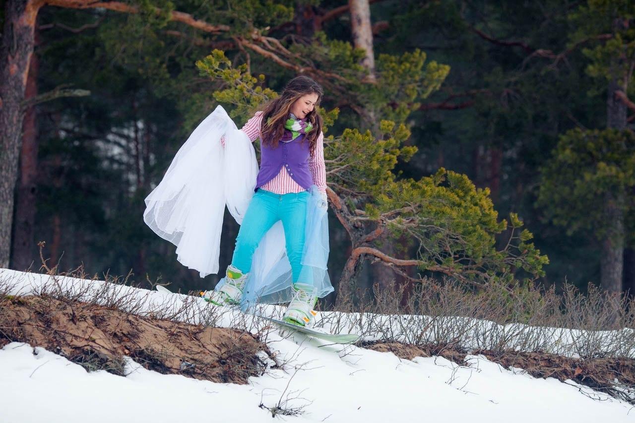 невеста на свадьбе в стиле сноубординга