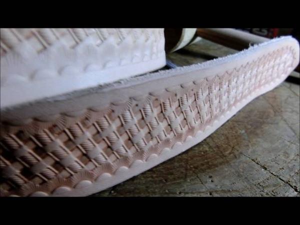 Basketweave stamping leather レザークラフト カービング ベルト制作 バスケット模様