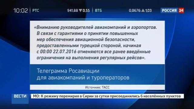 Новости на Россия 24 • С 22 июля Россия возобновляет регулярные рейсы в Турцию