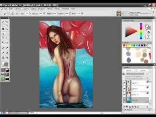 Bikini Babe Painter X painting tutorial with audio instructions Part 14/15