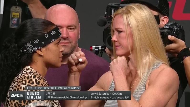 """UFC on Instagram """"A primeira encarada entre 🏆🏆@Amanda_Leoa e @HollyHolm. A brasileira 🇧🇷 vai continuar fazendo história no UFC239, dia 6 de maio"""""""