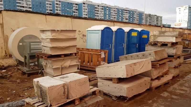 Подготовка к вывозу ж/б блоков полученных в результате вырезки проёмов в стенах и перекрытиях