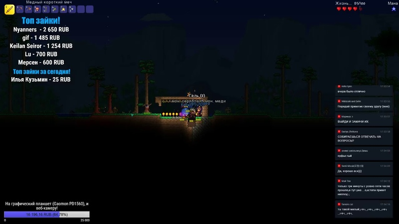 Игровой стрим от Ниллоу! Terraria! Копим на графический планшет! :3