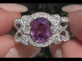 GIA 2.60 tcw VS Top Gem Purple Pink Color Sapphire &amp Diamond Cocktail Ring 14k White Gold C244