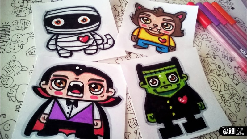 Halloween Drawings - How To Draw Cute Monsters by Garbi KW
